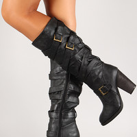 Strappy Buckle Chunky Heel Knee High Boot
