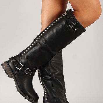 Studded Buckle Riding Knee High Boot