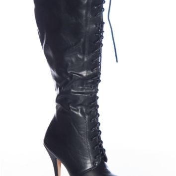 Riot and Rock AMBER-04 Ruched Faux Leather Knee High Lace Up Stiletto Boots - Black
