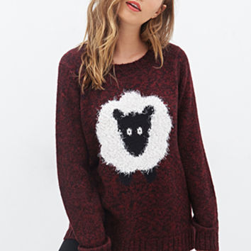 FOREVER 21 Shaggy Sheep Sweater Red/Black
