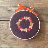 Embroidered Autumn Leaves Wreath Hoop Art Wall Hanging Plaque Sign ~ Fall Autumn Thanksgiving Decor