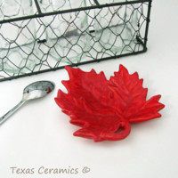 Deep Red Maple Leaf Tea Bag Holder Small Spoon Rest Fall Table Accent Desk Catch All Tray for Jewelry on Bath Vanity