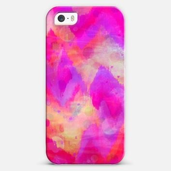 Bold Quotation, Revisited - Bright Neon Hot Pink Feminine Chevron Ikat Abstrct Painting Pattern iPhone 5s case by Ebi Emporium | Casetify