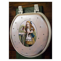 Alice in Wonderland toilet seat retro vintage Victorian fantasy fairy tale decor