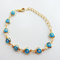 Evil eye bracelet for woman, glass evil eye, blue bracelet, birthday gift, best friend birthday, women present, christmas gift,