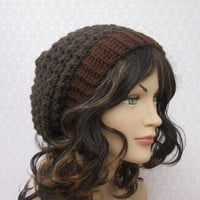 Brown Slouchy Crochet Hat - Womens Slouch Beanie - Oversized Cap - Fall Winter Fashion Accessories