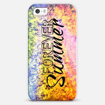 FOREVER SUMMER - Colorful Rainbow Ombre Orange Yellow Green Ocean Waves Beach Water Splash Fun Happy Typography Abstract Painting iPhone 5s case by Ebi Emporium | Casetify