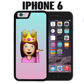 iPhone Case Cute Funny Queen Emoji for iPhone 6 Plastic Black (Ships from CA)