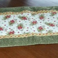 Bright Springy Table Runner with Bunches of Wild Flowers