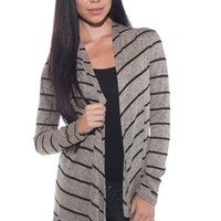 Open Front Striped Cardigan - Gray