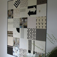 Black and White Modern Quilt, Art Quilt, Lap Quilt