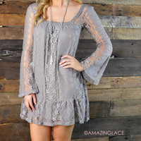 Laced With Style Taupe Lace Dress