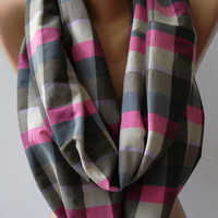 Dance of the Colors Collection - Plaid - Infinity - Loop - Circle / Elegant - Feminine - Summer - Shawl - Scarf
