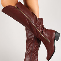 Zip Up Almond Toe Knee High Riding Boot
