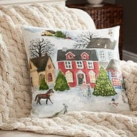 WINTER VILLAGE SCENE PRINT PILLOW COVER BENEFITING GIVE A LITTLE HOPE CAMPAIGN