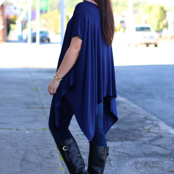 Dripped in Love Poncho {Navy}