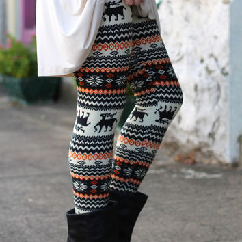 Fall Deer Leggings {Cream Mix}
