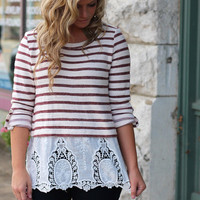 Stripes & Lace Top {Off White + Burgundy}