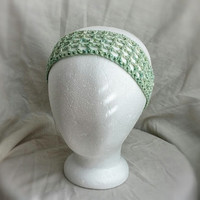 Green crochet headband Organic cotton hair band Lime green and Turquoise hair wrap Up do hair tie