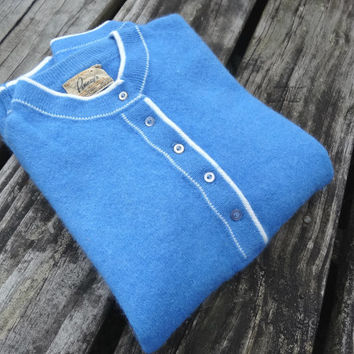 """1950s Blue Sweater Angora & Lambswool Vintage WPL by Penney's Small Bust 34"""" Waist 24"""""""