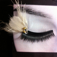 Wedding Cream Spring Prom Bride Bridesmaids Feather False Eyelashes Bridal Makeup