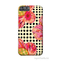 Floral iPhone 6 Case, polka dots, iPhone Case, Art, iPhone cases, by Ingrid, iPhone 5S case, iPhone 6 Plus Case
