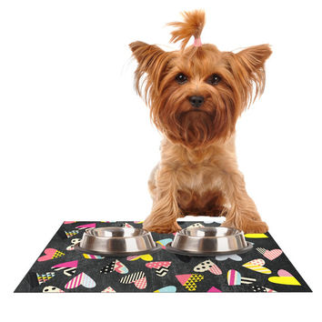 "Louise Machado ""Pieces of Heart"" Pink Yellow Dog Place Mat"
