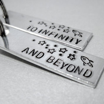 SET OF 2 BFF Keychains - To Infinity and Beyond - Back can be customized with name or date