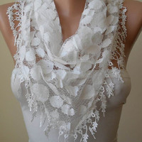 White Lace Scarf - Polka Dot with White Trim Edge - Triangle ---Trendy.