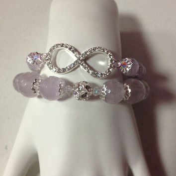 Rhinestone Infinity Faceted Amethyst Gemstone Bracelet Set