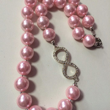 "18"" 14mm Pink Shell Pearl & Infinity Crystal Chunky Necklace Earring SET"