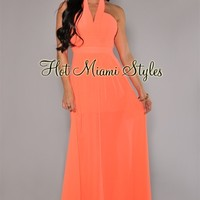 Neon Coral Halter Maxi Padded Dress