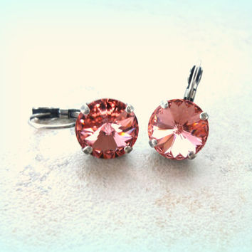 Swarovski crystal lever back earrings, 12mm large stone, round, light peach, high sparkle crystal earrings,