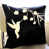Black Hummingbird with Eucalyptus 17 inches Square Pillow