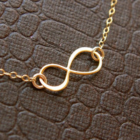 Infinity necklace in gold vermeil and gold filled chain