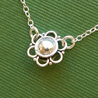 Sterling silver flower link necklace