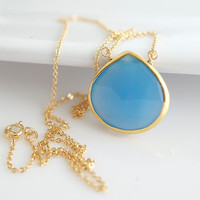 Faceted Bezel Set Blue Chalcedony Necklace - 14k Gold Filled Chain