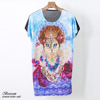 Women's animal cat printed graphic t-shirt loose fit long top dress S M L