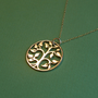 Large bronze tree of life pendant and gold filled necklace