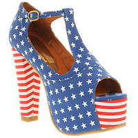Jeffrey Campbell FOXY HEEL PLATFORM US FLAG CANVAS Shoes - Womens High Heels Shoes - Office Shoes