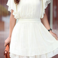Beige Ruffle Short Sleeve Elastic Waist Pleated Chiffon Dress - Sheinside.com