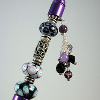 Purple, Blue, Black Lampwork Beaded Pen with dangles