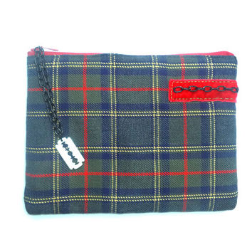 Tartan mini ipad cover - Punk zipper pouch - Olive green, red yellow and black with chain and razor blade.