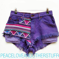 "Re-worked Vintage LEVI Purple Tribal Print High Waisted Shorts - Size 29""W"