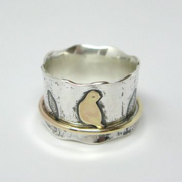 Birds on a Wire Sterling Silver and 10k Gold by janiceartjewelry