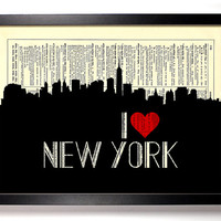 I Love New York, New York City Skyline Dictionary Book Print Upcycled Art Upcycled Vintage Print Antique Dictionary Buy 2 Get 1 FREE