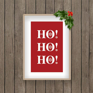 Ho! Ho! Ho! christmas winter print pdf printable digital download snow snowflake Red holiday gift present