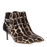 valentino - rockstud leopard-print calf-hair ankle boots