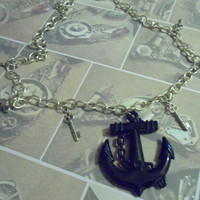 Black Anchor and silver keys necklace - BeCutie