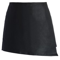 Chicwish Faux Leather Flap Skort  Black